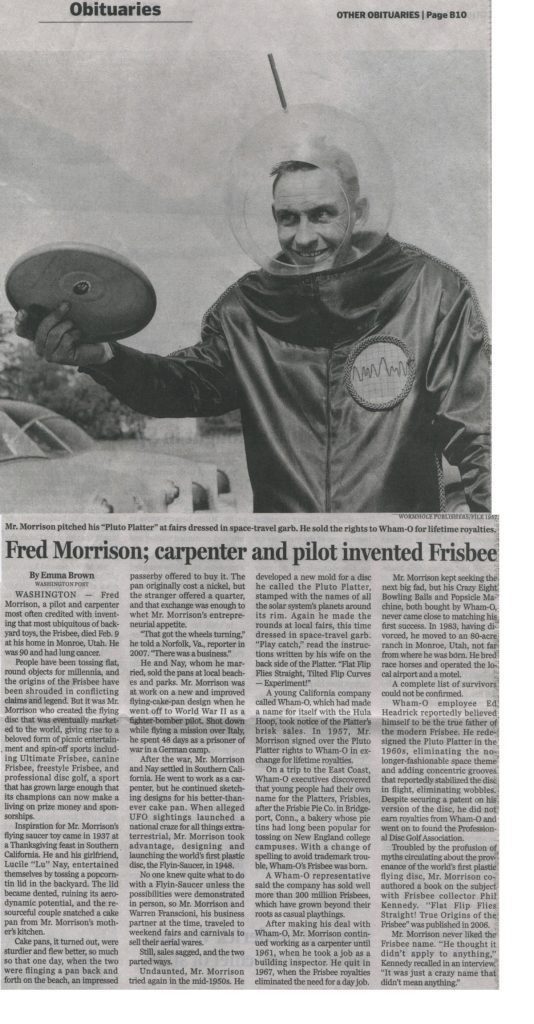 Photo of Fred Morrison and obituary. Inventor of the Frisbee.